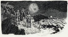 Mooncussers on Rocks with Lantern from Lighthouses: Watchers at Sea